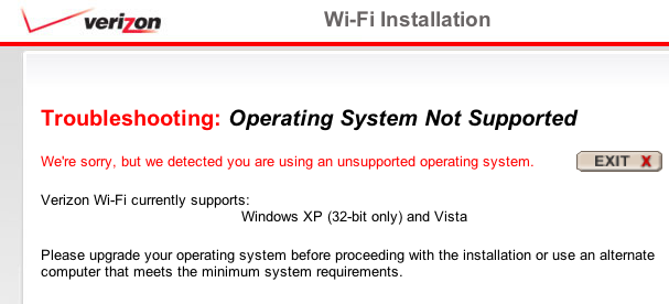 Verizon WiFi Error message